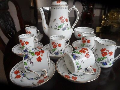 Antique Tuscan China Hand-Painted Porcelain Coffee Set