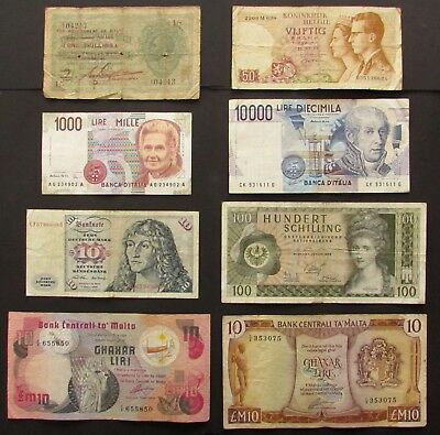 Lot of 8 VARIOUS WORLD BANKNOTES