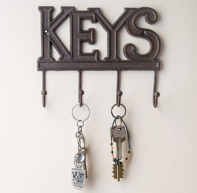 Key Holder - Keys - Wall Mounted Key Hook - Rustic Western Cast Iron Key Hanger