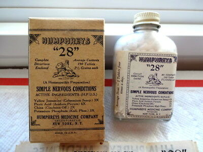 Dr. HUMPHREY'S HOMEOPATHIC MEDICINE 28 FULL BOTTLE IN BOX INSTRUCTION SHEET