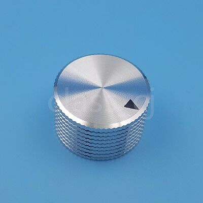 Silver Aluminum 25 x 15.5mm Volume Potentiometer 6.4mm 1/4'' Audio Rotary Knob