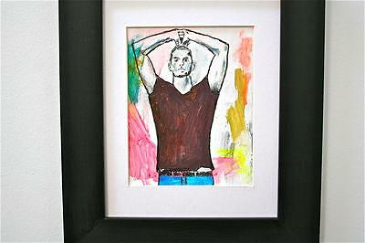 """JOE"" CHUCK GREATREX  ""5 1/2 x 7"" ORIGINAL FRAMED PAINTING OUTSIDER ART!"