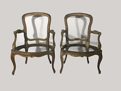 Pair of 18th century Louis XV period fauteuil arm chairs for restoration