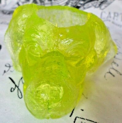 Vaseline Art Glass Dogs Head Toothpick or Candle Holder