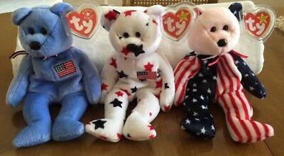 MWNT 3 RARE TY Patriotic Beanie Babies Bears GLORY/AMERICA/PINK FACE SPANGLE