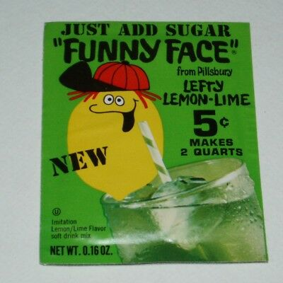 1970's Pillsbury Funny Face Lefty Lemon-Lime full pack kids food