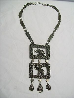 Vintage Pewter Double Elephants in Rectangle Pendants Large Necklace 1960's