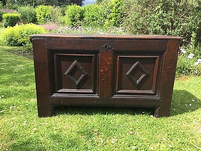 Antique 19thC Peg Jointed Oak Coffer / Blanket / Storage / Toy Box.