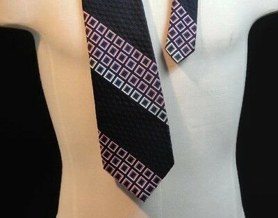 Vintage 70s Neck Tie Mod Disco Wide Polyester Geometric - MINT CONDITION! (B620)