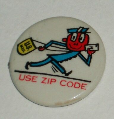 1960's MR ZIP post office Advertising Character button