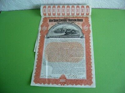 The New York Central and Hudson River Railroad, $1000 Coupon Gold Bond; USA