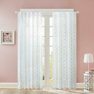 Regency Heights Nanni Embroidery 84-Inch   1 Sheer  Window Curtain Panel - White