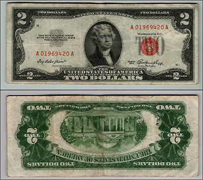 1953 $2 Dollar Bill Old Us Note Legal Tender Paper Money Currency Red Seal P122