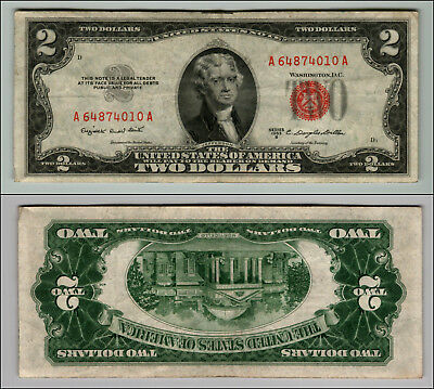 1953B $2 Dollar Bill Old Us Note Legal Tender Paper Money Currency Red Seal J306