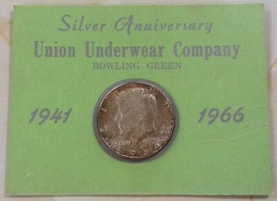 Union Underwear ( Fruit Of The Loom) Silver Anniversary 1941 1966 Kennedy Half