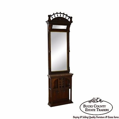 Antique Victorian Walnut Pier Hall Mirror w/ Marble Shelf