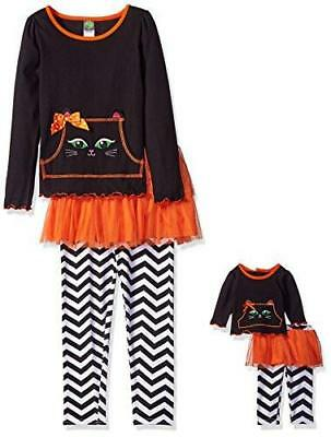 Dollie & Me Big Girls' Knit Long Sleeve Top, Mesh Skirted Printed Legging, 8 New