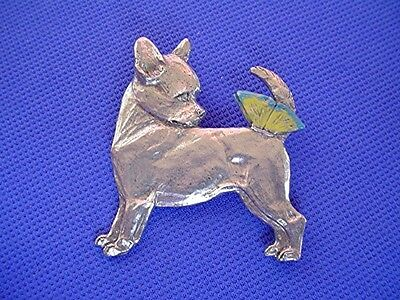 Chihuahua and Butterfly pewter pin #36B Toy dog jewelry by Cindy A. Conter   CAC