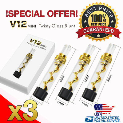 x3 NEW DESIGNED V12 Gold Smoking Mini Twisty Glass Blunt Pipe With Cleaning Kit