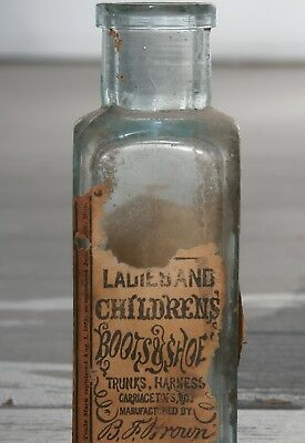 Antique BROWN'S Labeled LADIES' AND CHILDREN'S BOOTS & SHOE DRESSING BOTTLE