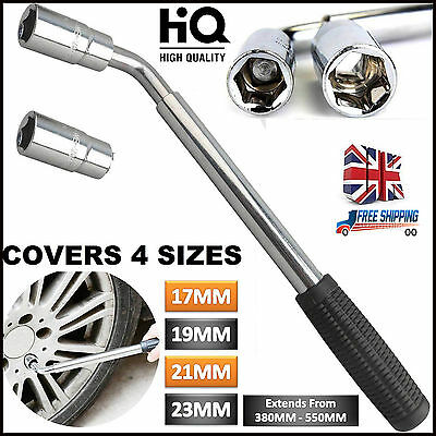 Extendable Wheel Brace Wrench 17&19 21 & 23mm Telescopic Van Car Socket Tyre Nut