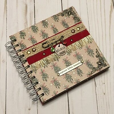 Handmade Christmas Themed Mini Album Brand New Spiral Bound w Journal Cards 6x6