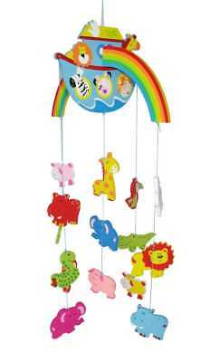 Wooden Noah's Ark Baby Mobile | Nursery Decor | Animals Rainbow | Kaper Kidz