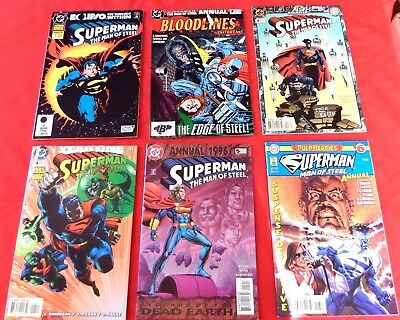 Superman : Man Of Steel Annual  Complete Set 1-6  Dc Giant  1992  Nice!!!