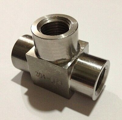 """Tee 3 Way 304 Stainless Steel Pipe Fitting Connector Equal 3/8"""" BSP Female"""