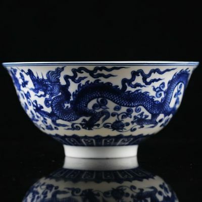 Chinese Blue & White Porcelain Hand Painted Dragon Pattern Bowl W Qianlong Mark