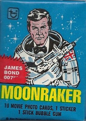 James Bond Moonraker 007 - Wax Pack Trading Cards by Topps 1979 - Single Pack