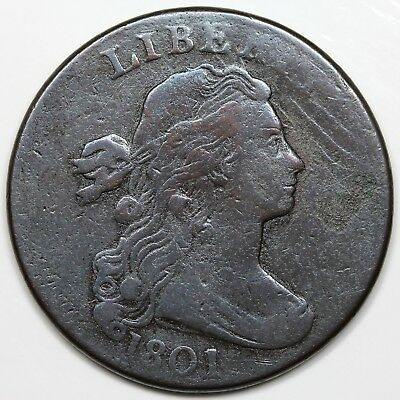 1801 Draped Bust Large Cent, F detail