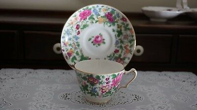 Crown Staffordshire Tea Cup And Saucer  Chintz Floral, England