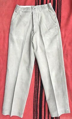 Vintage WWII 1940s Khaki Dress Chinos Button-fly Work Pants 30 great condition!