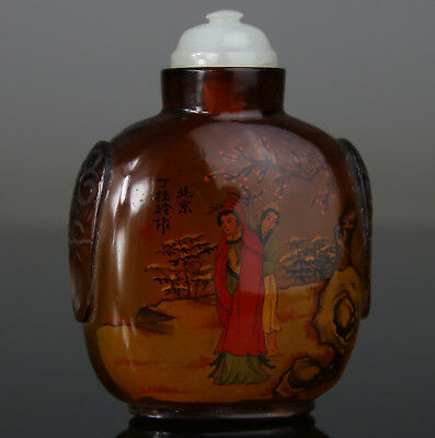 Antique Chinese Snuff Bottle Peking Glass Kwanyin Artist Mark Late 19Th Qing
