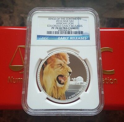 2016 African Lion NGC PF70 Early Releases NIUE 1 oz .999 Silver Proof Coin