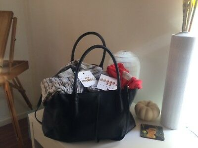 NWOT H&M Tote and Earrings + 2 Anthropologie Sweaters (pre-owned) XS/S