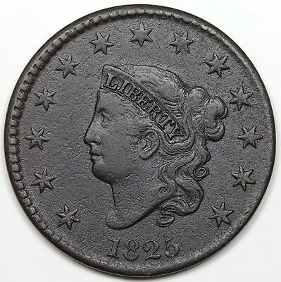 1825 Coronet Head Large Cent, VF-XF detail