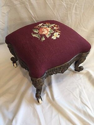 Antique Needlepoint Heavy Iron Foot Stool With Wheels