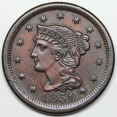 1851 Braided Hair Large Cent, AU detail