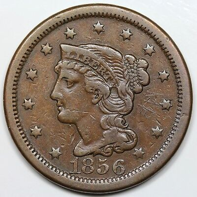 1856 Braided Hair Large Cent, Upright 5, VF detail