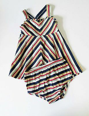 Ralph Lauren Baby Girls Striped Jersey Dress Beige Sz 3M - NWT