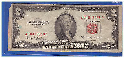 1953C $2 Dollar Bill Old Us Note Legal Tender Paper Money Currency Red Seal R399
