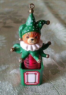 Enesco Lucy and Me Jester Bear Christmas Hanging Ornament 1988 w/Box