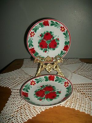 """Pair of Hungarian Small Floral Hand painted Decorative Wall PLATES 6"""" diameter"""