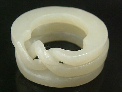"""Antique Old Chinese Celadon Nephrite -Hollowed Jade Thumb Ring""""3Concentric lock"""""""
