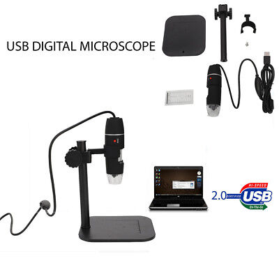 1X-500X USB Microcope Digital 8 LED Digital Endoscope Magnifier Camera Black