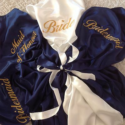 Bridal Robes ~ Navy Blue ~ Personalised Embroidery ~ Bride Bridesmaid Wedding