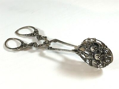 Antique Solid Silver Sugar Tong Scissors Continental 800 - 46.9g Rose Design