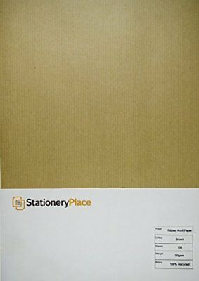 Stationery Place Brown Ribbed Recycled Natural Kraft Paper - A4 90 GSM 100 Sheet